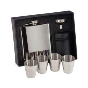 Aintree Polished Steel 6oz Flask & Cups